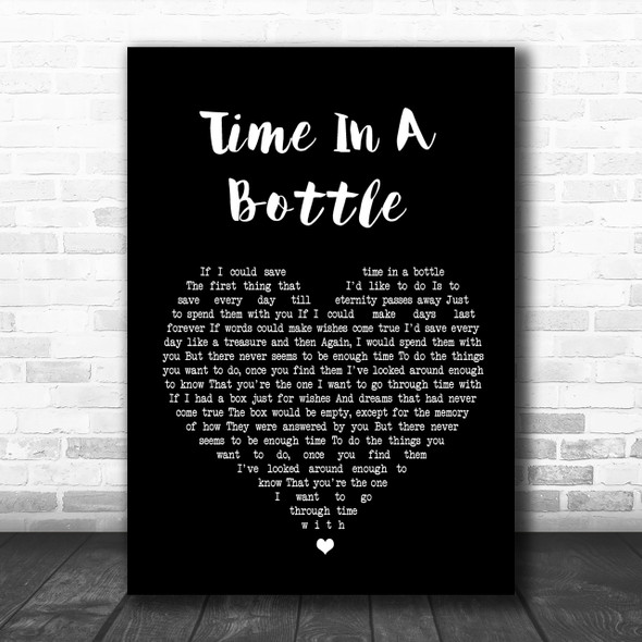 Jim Croce Time In A Bottle Black Heart Song Lyric Music Wall Art Print