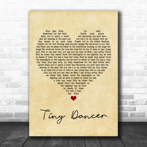 Elton John Tiny Dancer Vintage Heart Song Lyric Poster Print
