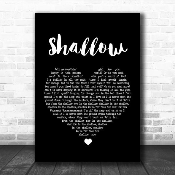 Lady Gaga & Bradley Cooper Shallow Black Heart Song Lyric Music Wall Art Print