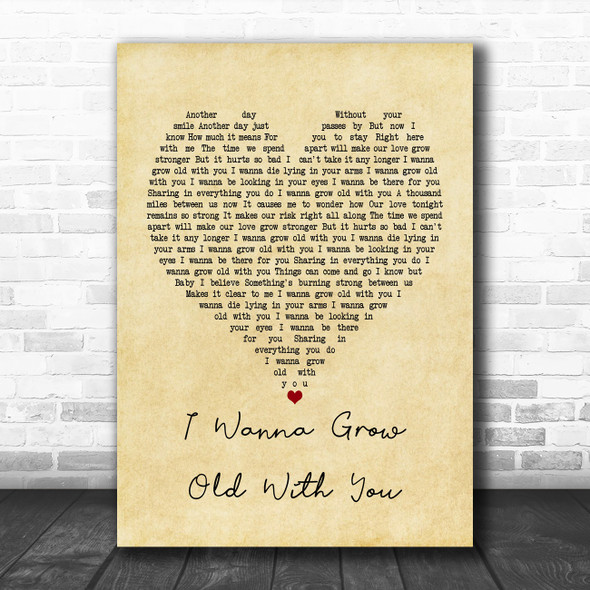 Westlife I Wanna Grow Old With You Vintage Heart Song Lyric Poster Print