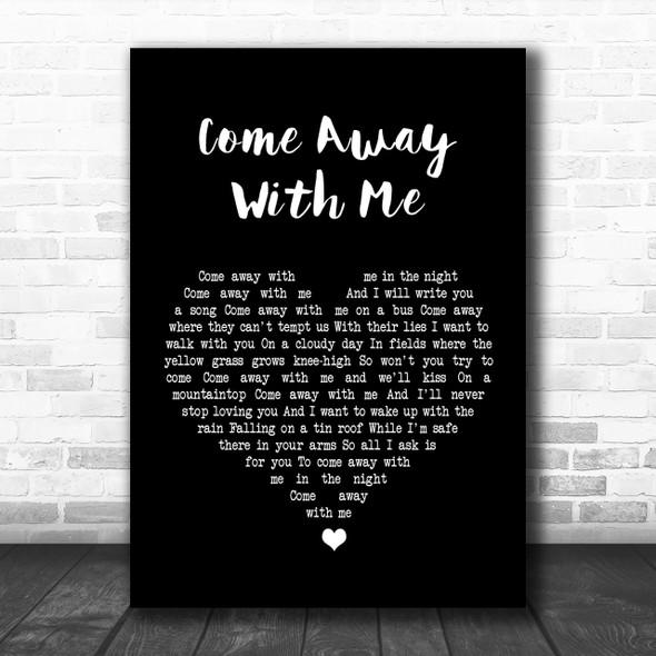 Norah Jones Come Away With Me Black Heart Song Lyric Music Wall Art Print