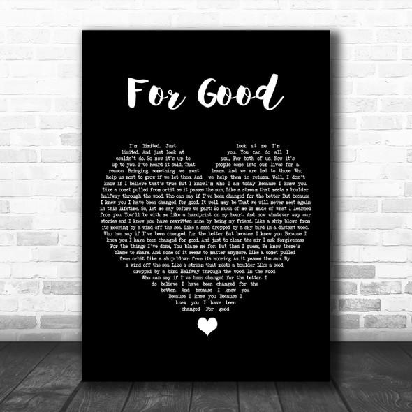 Idina Menzel & Kristin Chenoweth For Good Black Heart Song Lyric Music Poster Print