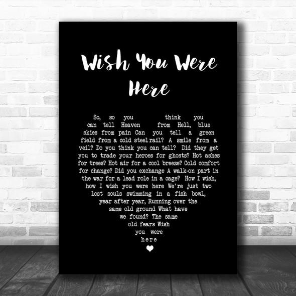 Pink Floyd Wish You Were Here Black Heart Song Lyric Music Wall Art Print
