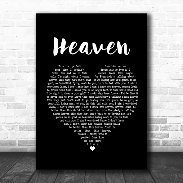 Kane Brown Heaven Black Heart Song Lyric Music Poster Print
