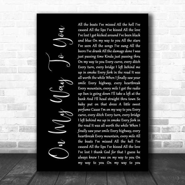 Cody Johnson On My Way To You Black Script Song Lyric Music Poster Print