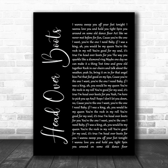 Jon Pardi Head Over Boots Black Script Song Lyric Music Poster Print