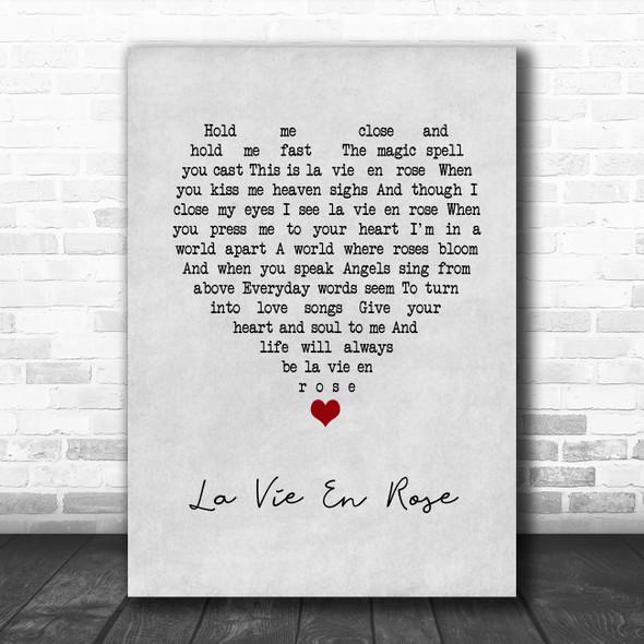 Louis Armstrong La Vie En Rose Grey Heart Song Lyric Music Poster Print
