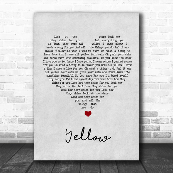 Coldplay Yellow Grey Heart Song Lyric Music Poster Print