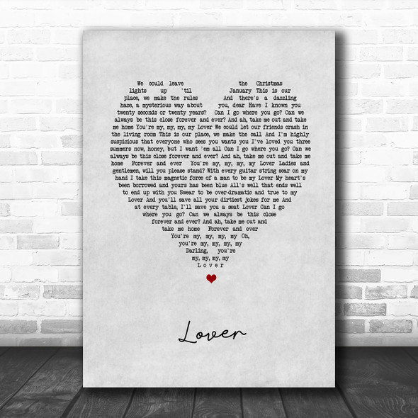 Taylor Swift Lover Grey Heart Song Lyric Music Poster Print