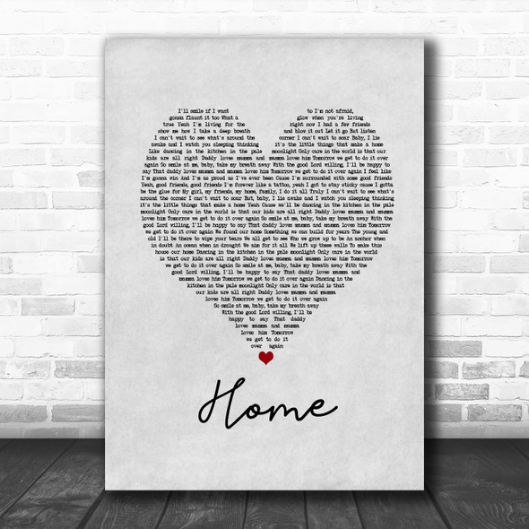 Blue October Home Grey Heart Song Lyric Music Poster Print