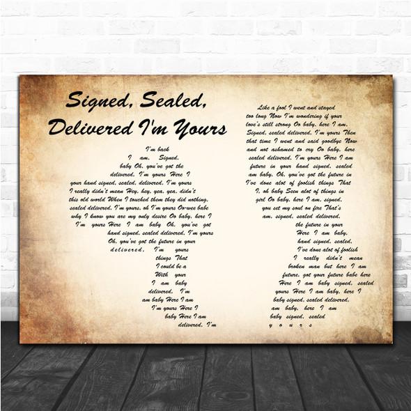 Stevie Wonder Signed, Sealed, Delivered I'm Yours Man Lady Couple Lyric Music Poster Print