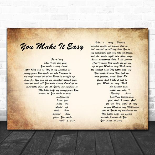 Jason Aldean You Make It Easy Man Lady Couple Song Lyric Music Poster Print