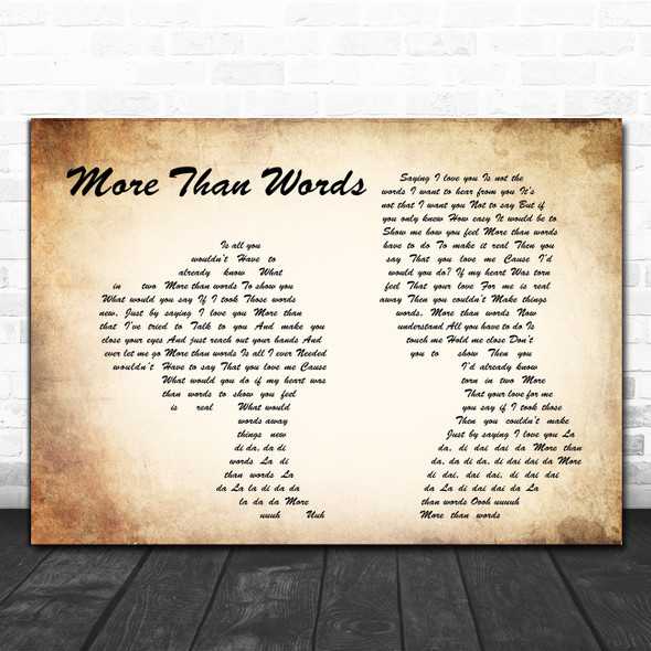 Extreme More Than Words Man Lady Couple Song Lyric Music Poster Print