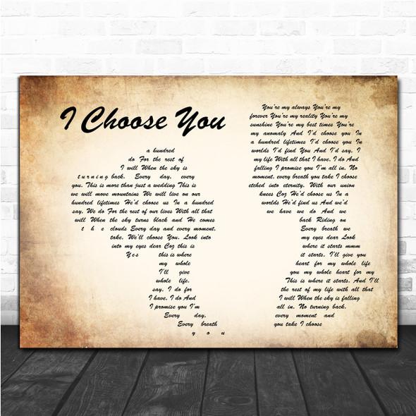 I Choose You Ryann Darling Man Lady Couple Song Lyric Music Poster Print