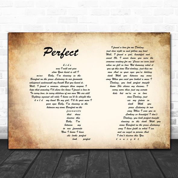 Ed Sheeran Perfect Man Lady Couple Song Lyric Music Poster Print