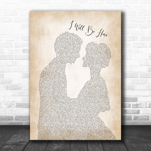 Steven Curtis Chapman I Will Be Here Man Lady Bride Groom Song Lyric Music Poster Print