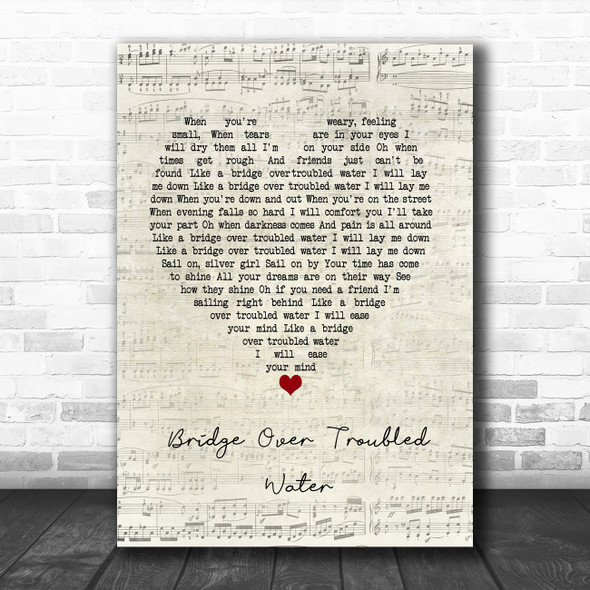 Simon & Garfunkel Bridge Over Troubled Water Script Heart Song Lyric Music Poster Print