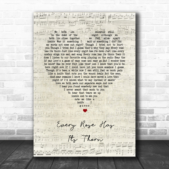 Poison Every Rose Has Its Thorn Script Heart Song Lyric Music Poster Print