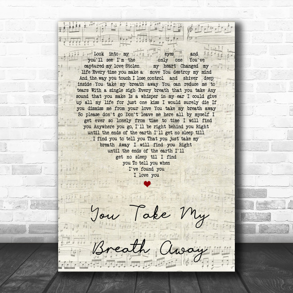 Queen You Take My Breath Away Script Heart Song Lyric Music Poster Print