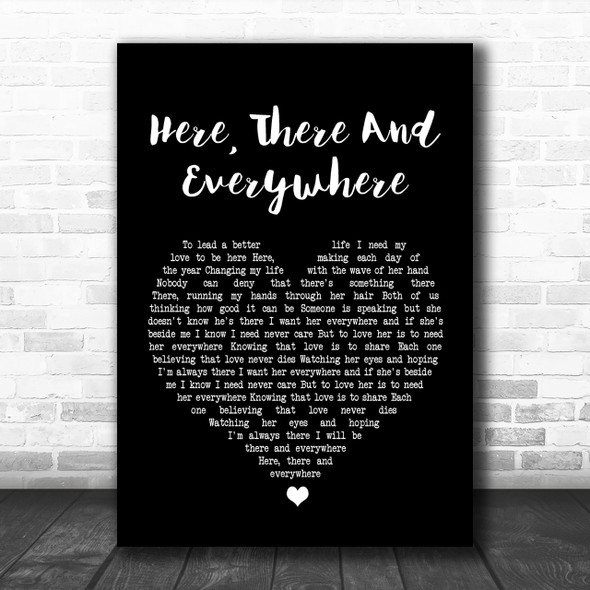 The Beatles Here, There And Everywhere Black Heart Song Lyric Music Wall Art Print