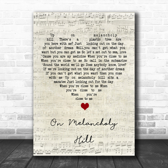 Gorillaz On Melancholy Hill Script Heart Song Lyric Music Poster Print