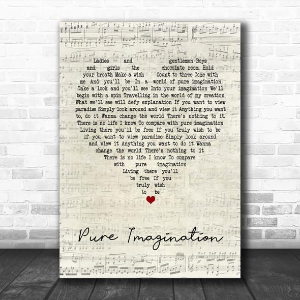 Gene Wilder Pure Imagination Script Heart Song Lyric Music Poster Print