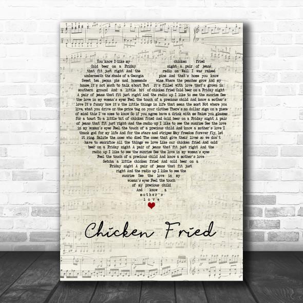 Zac Brown Band Chicken Fried Script Heart Song Lyric Music Poster Print