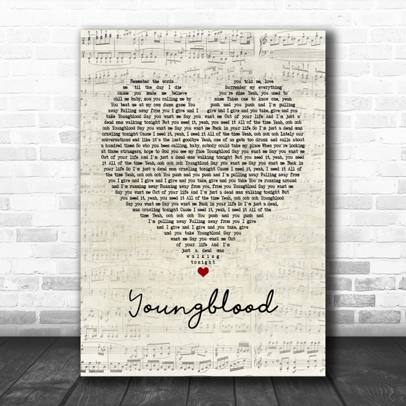 5 Seconds Of Summer Youngblood Script Heart Song Lyric Music Poster Print