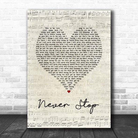SafetySuit Never Stop Script Heart Song Lyric Music Poster Print