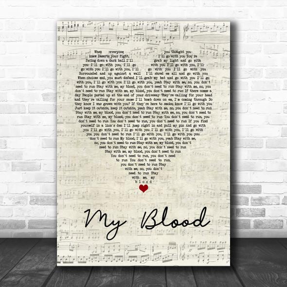 Twenty One Pilots My Blood Script Heart Song Lyric Music Poster Print
