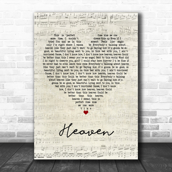 Kane Brown Heaven Script Heart Song Lyric Music Poster Print
