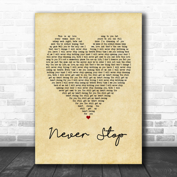 SafetySuit Never Stop Vintage Heart Song Lyric Music Poster Print