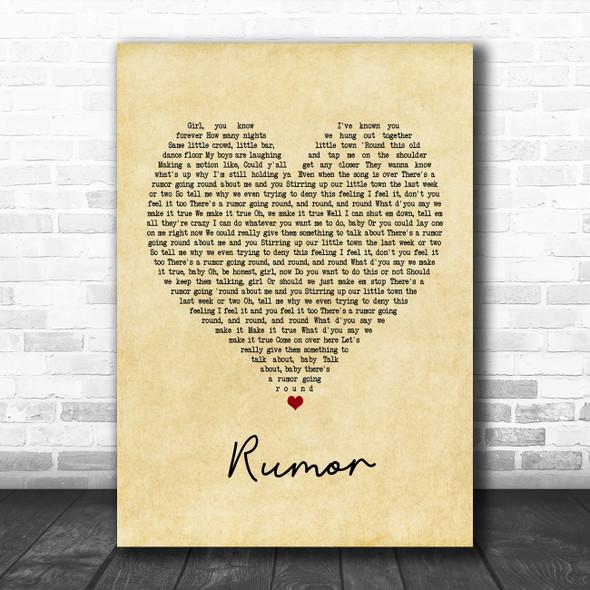 Lee Brice Rumor Vintage Heart Song Lyric Music Poster Print