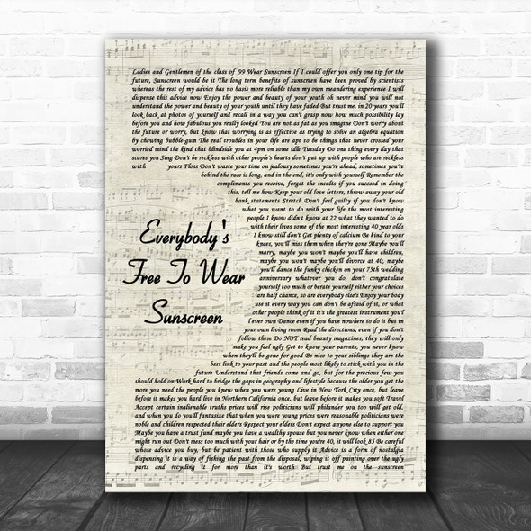 Baz Luhrmann Everybody's Free To Wear Sunscreen Vintage Script Song Lyric Music Poster Print