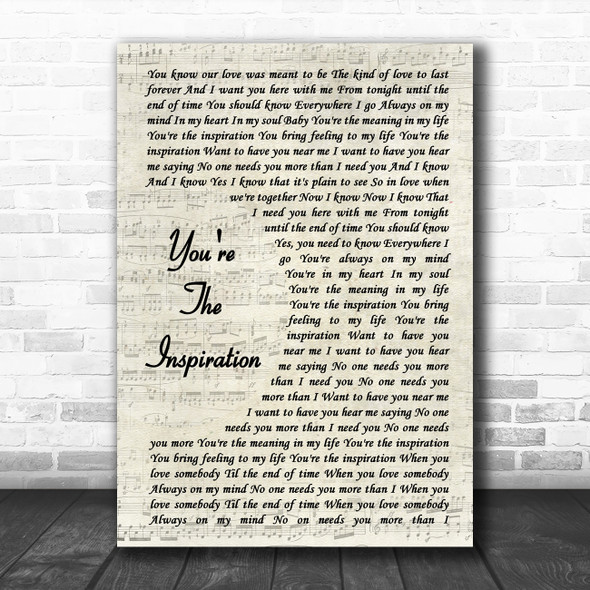 Chicago You're The Inspiration Vintage Script Song Lyric Music Poster Print