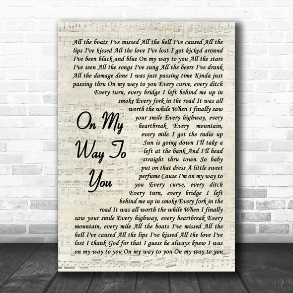 Cody Johnson On My Way To You Vintage Script Song Lyric Music Poster Print
