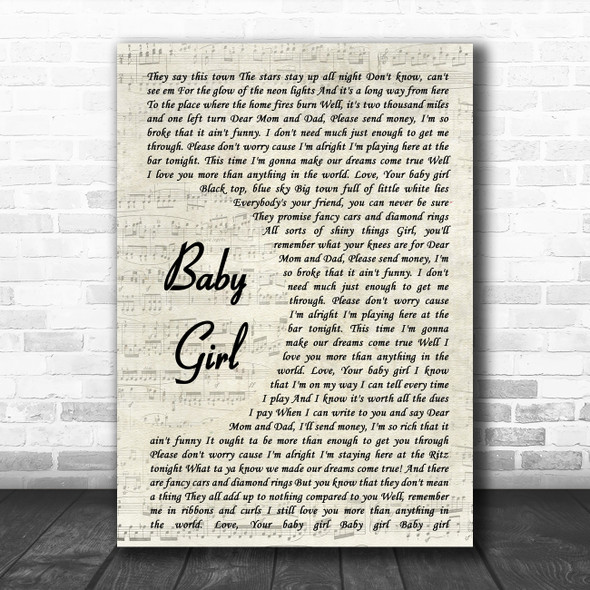 Sugarland Baby Girl Vintage Script Song Lyric Music Poster Print