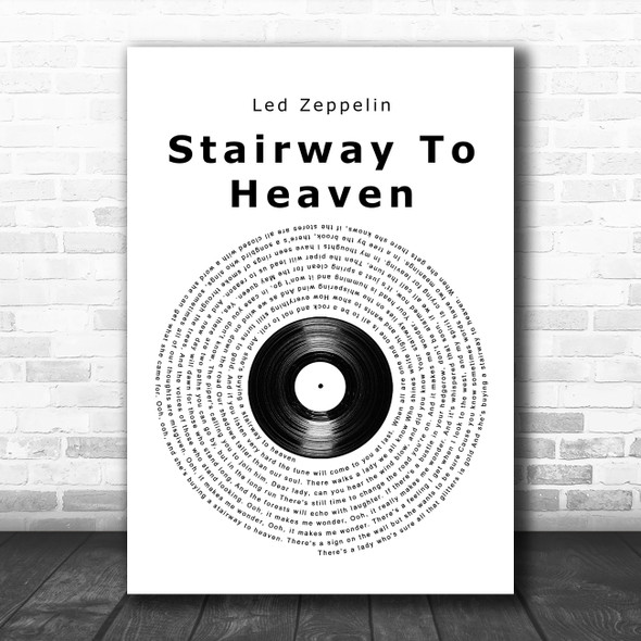 Led Zeppelin Stairway To Heaven Vinyl Record Song Lyric Music Poster Print