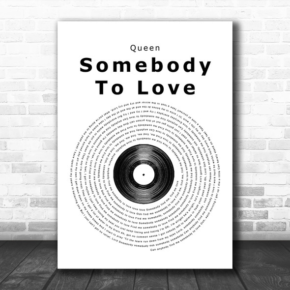 Queen Somebody To Love Vinyl Record Song Lyric Music Poster Print