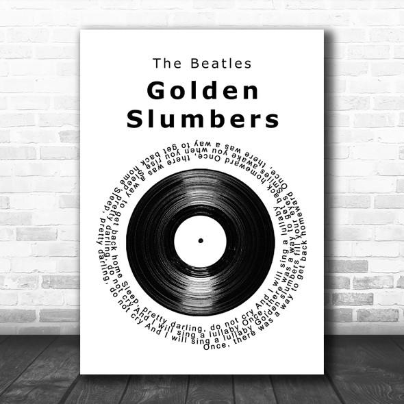 The Beatles Golden Slumbers Vinyl Record Song Lyric Music Poster Print