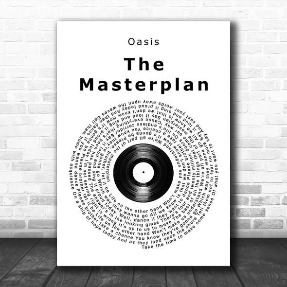 Oasis The Masterplan Vinyl Record Song Lyric Music Poster Print