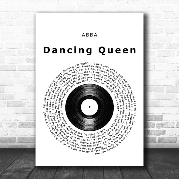 ABBA Dancing Queen Vinyl Record Song Lyric Music Poster Print