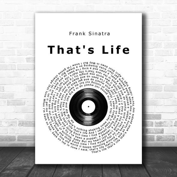 Frank Sinatra That's Life Vinyl Record Song Lyric Music Poster Print