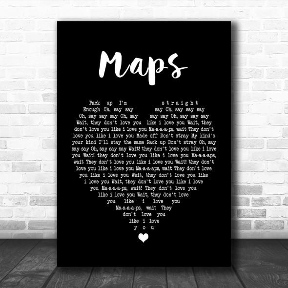 Yeah Yeah Yeahs Maps Black Heart Song Lyric Music Wall Art Print