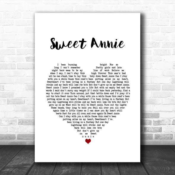 Zac Brown Band Sweet Annie White Heart Song Lyric Music Poster Print