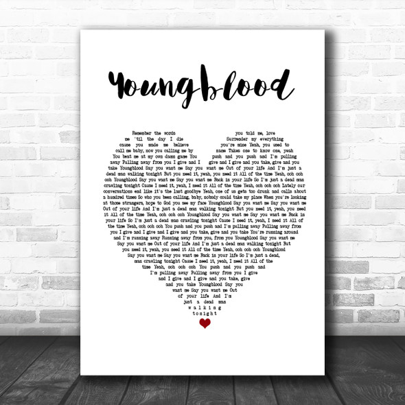5 Seconds Of Summer Youngblood White Heart Song Lyric Music Poster Print