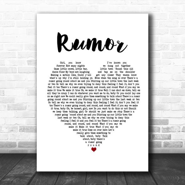 Lee Brice Rumor White Heart Song Lyric Music Poster Print