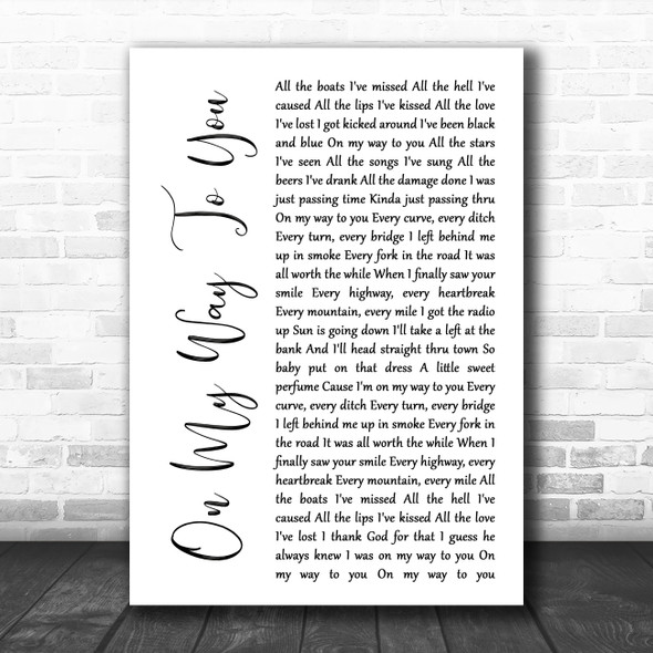 Cody Johnson On My Way To You White Script Song Lyric Music Poster Print