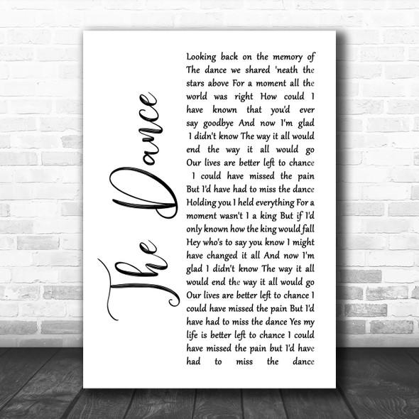 Garth Brooks The Dance White Script Song Lyric Music Poster Print