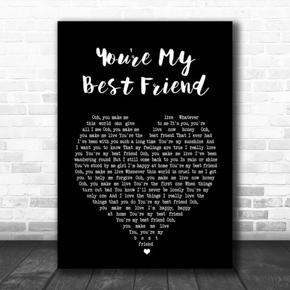 Queen You're My Best Friend Black Heart Song Lyric Music Wall Art Print